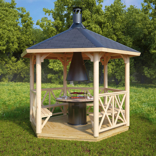 Wooden Grill Gazebo Lotte S 6m 178 3 X 3 M Hansa24 Group
