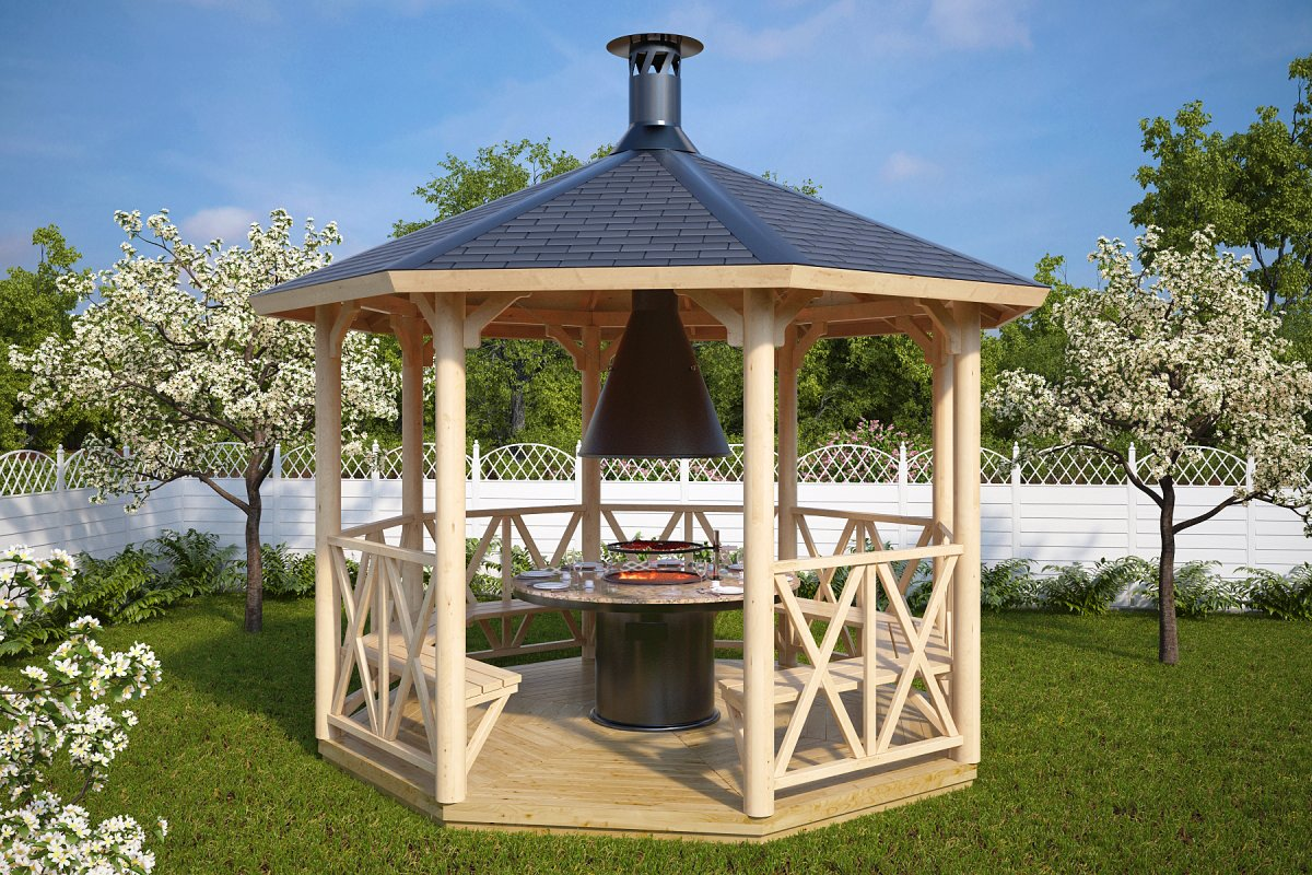 Wooden Grill Gazebo Lotte L 9m 178 3 6 X 3 6 M Hansa24 Group