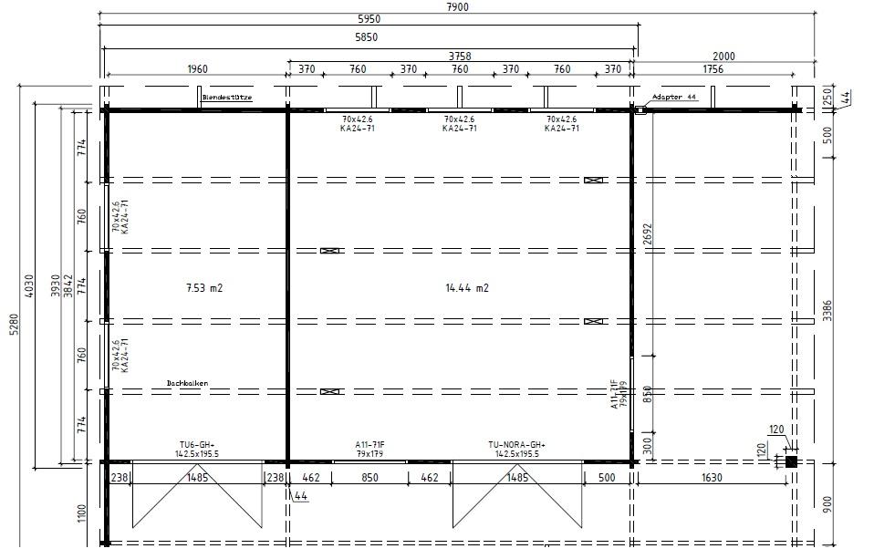 Summer house Hansa Lounge XXL with Storage Room 22m 44mm 8 x 5