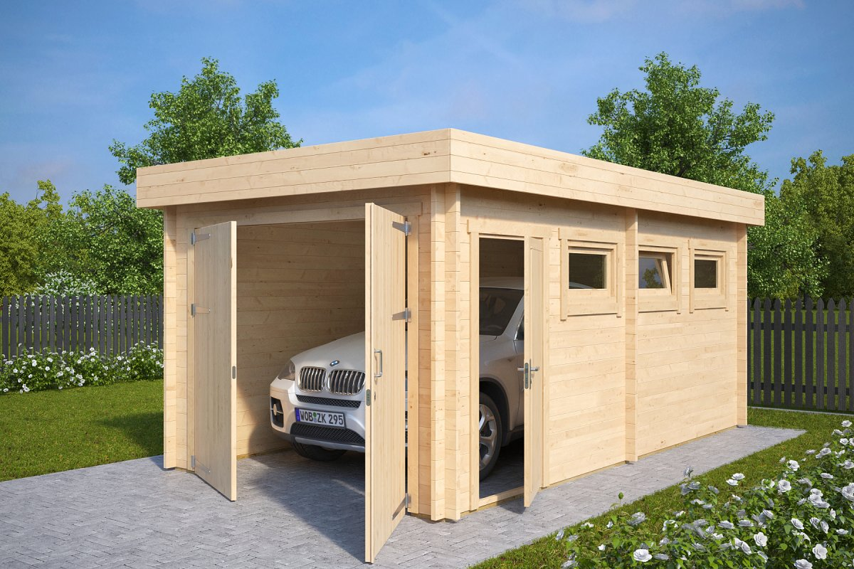 Moderne holzgarage  Garage Hansa C with Double Doors / 3 x 5,5 m / 44mm - Hansa24 Group