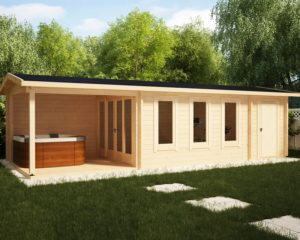 summer house with veranda and shed super eva e 18 m2 9 x 3 m 44 mm
