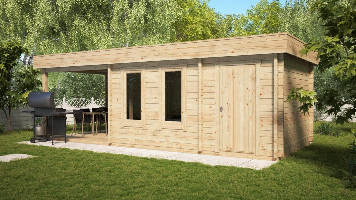 summer house with veranda and shed super lucas e 15 m2 8 x 3 m 44 mm - Garden Sheds With Veranda